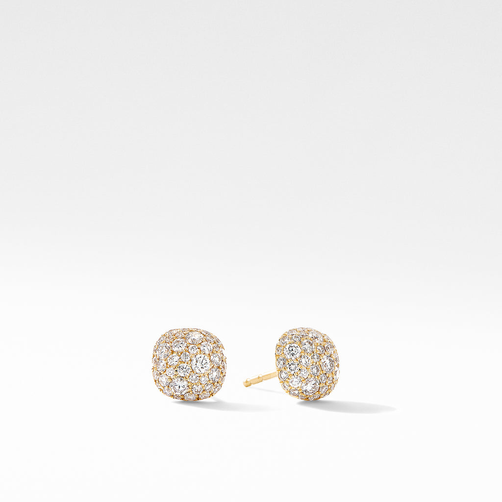 Small Cushion Stud Earrings in 18K Yellow Gold with Pavé Diamonds