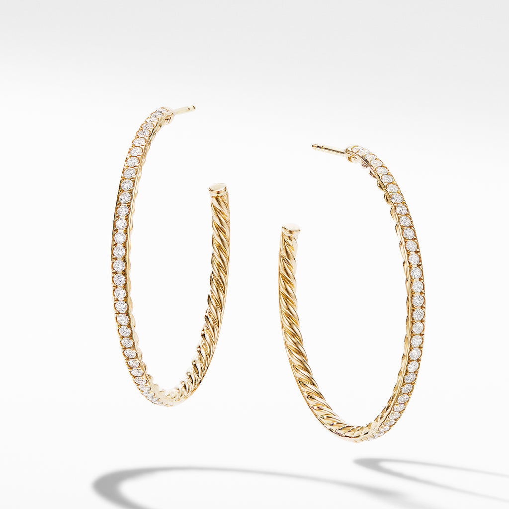 Medium Hoop Earrings in 18K Yellow Gold with Pavé Diamonds