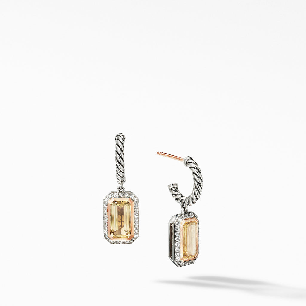 Novella Drop Earrings with Champagne Citrine, Pavé Diamonds and 18K Rose Gold