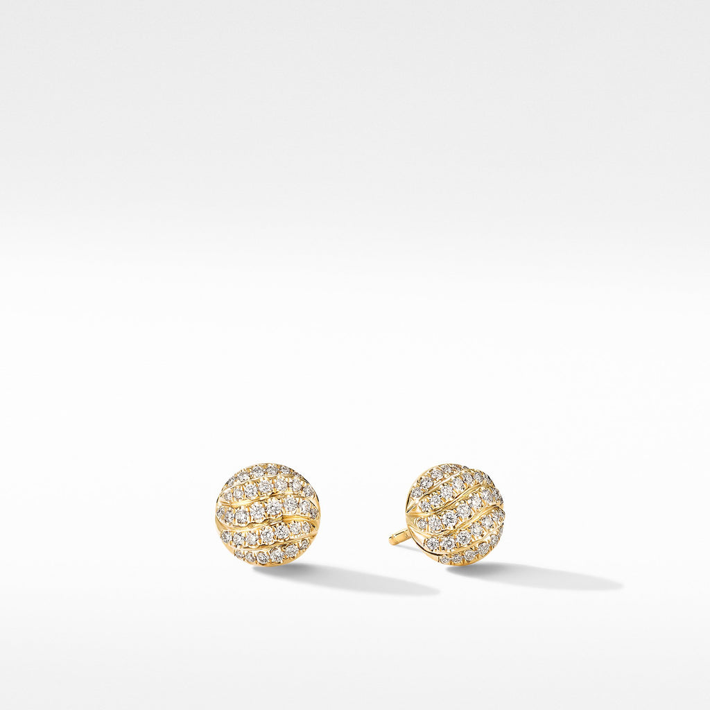 The Cable Collectibles® Collection Mini Cable Stud Earrings in 18K Yellow Gold with Diamonds