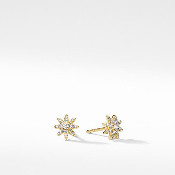 Petite Starburst Stud Earrings in 18K Yellow Gold with Pavé Diamonds
