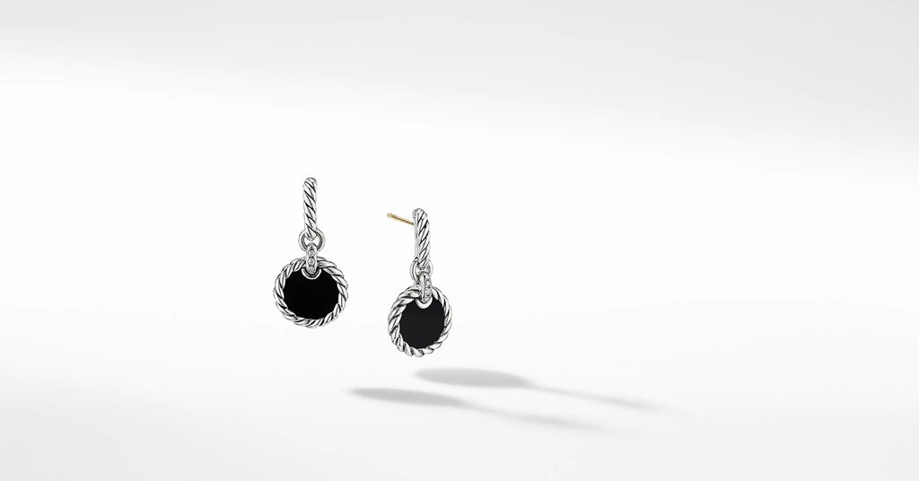DY Elements® Drop Earrings with Black Onyx and Pavé Diamonds