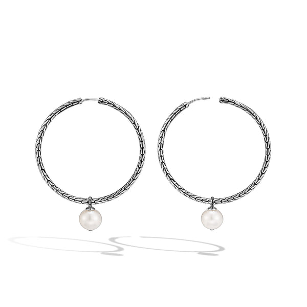 John Hardy Transformable Hoop Earring with Freshwater Pearl