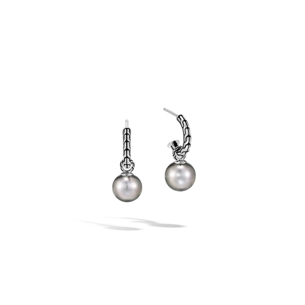 John Hardy Classic Chain Drop Earring with Tahitian Pearl