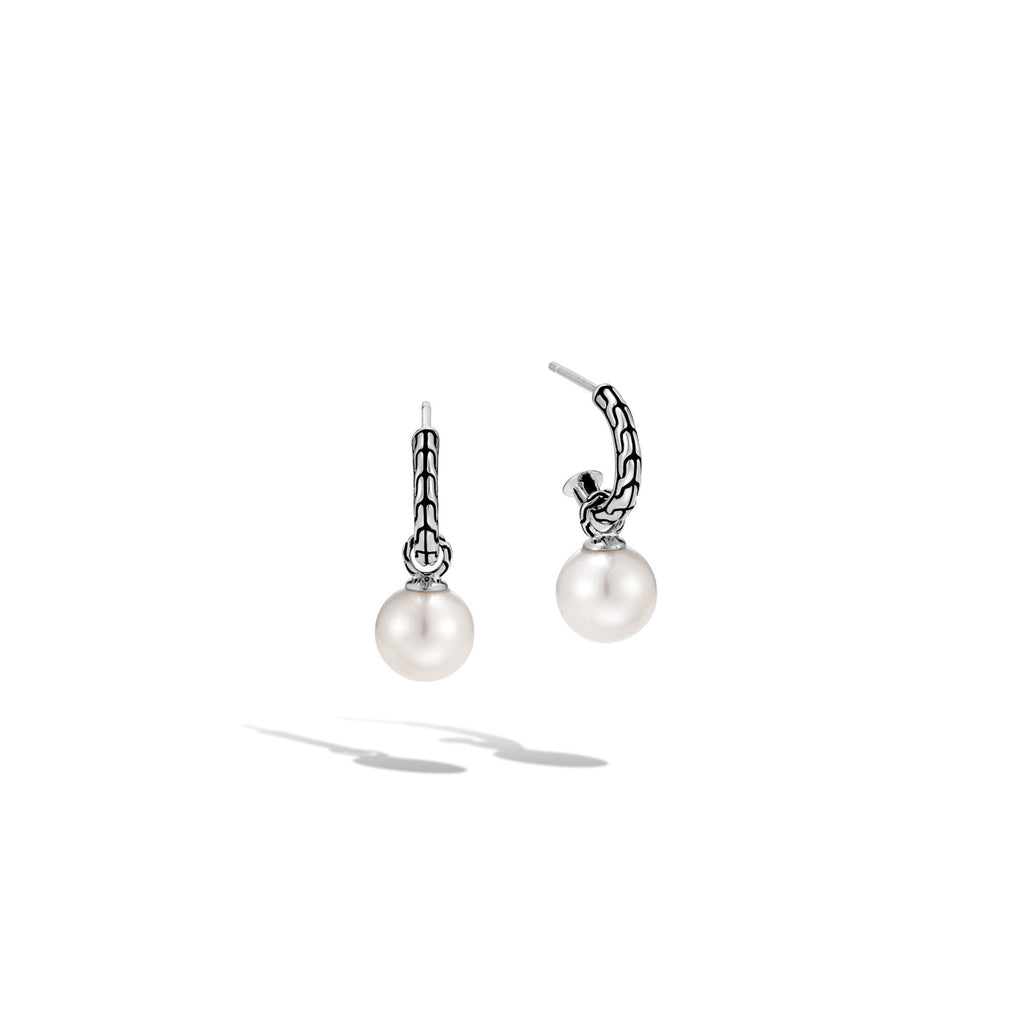 John Hardy Classic Chain Drop Earring with Freshwater Pearl