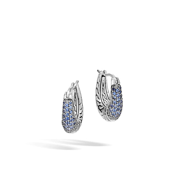 John Hardy Classic Chain Hoop Earrings With Blue Sapphire
