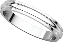 14 Karat White Gold 4mm Half Round Edge Band