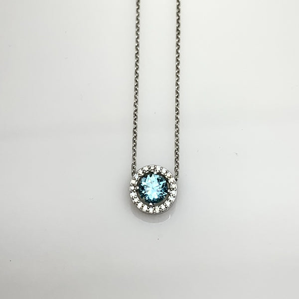 Blue Topaz and Diamond Halo Necklace