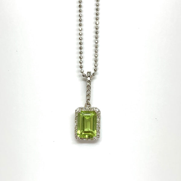 Peridot Halo Diamond Necklace