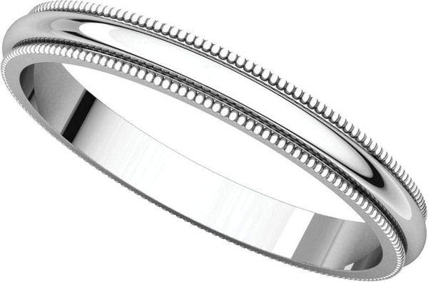 14 Karat White Gold Milgrain Band