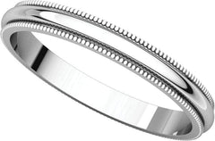14 Karat White Gold 2mm Milgrain Band