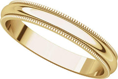 14 Karat Yellow Gold 3mm Milgrain Band