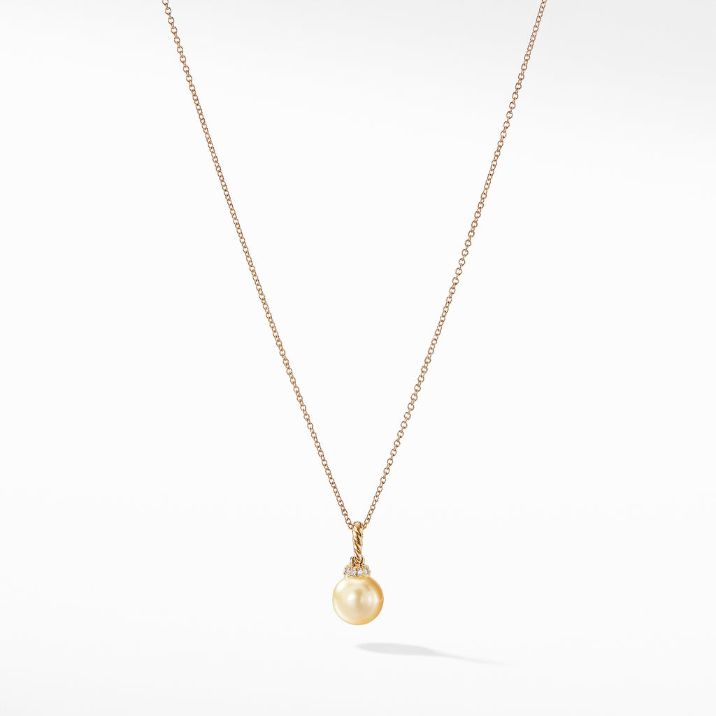 Solari Pendant Necklace with South Sea Golden Pearl and Diamonds in 18K Gold