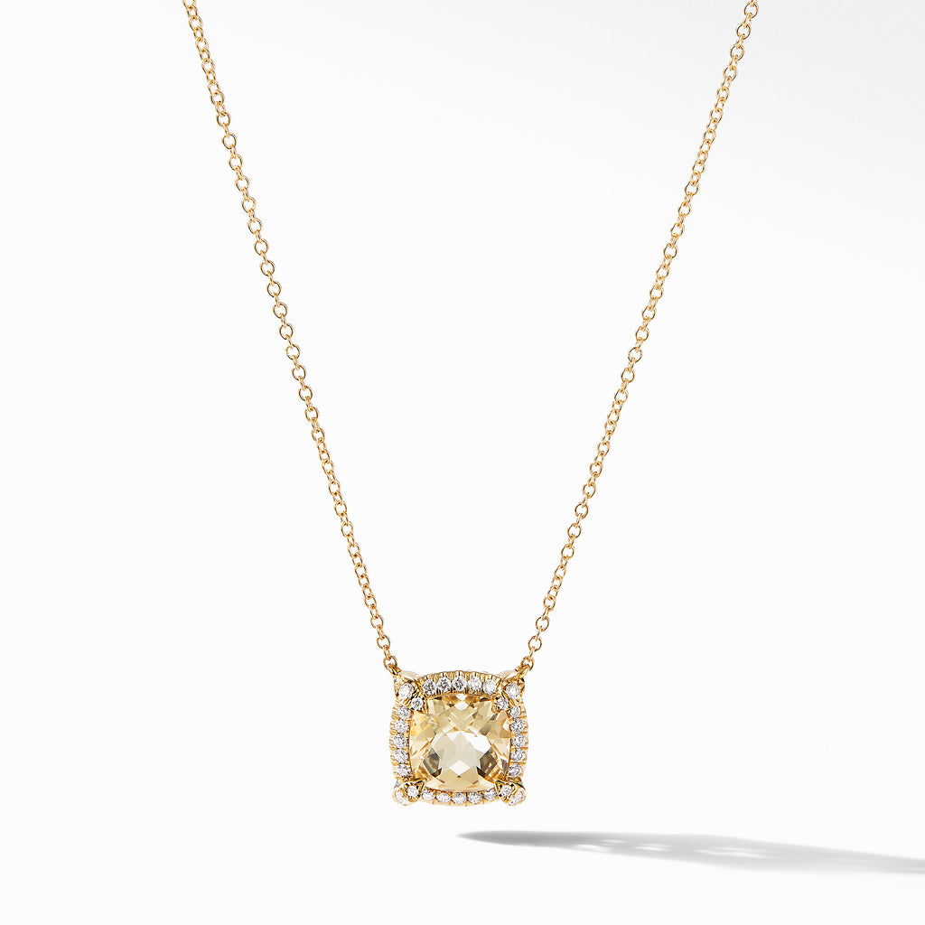 Petite Chatelaine® Pavé Bezel Pendant Necklace in 18K Yellow Gold with Champagne Citrine