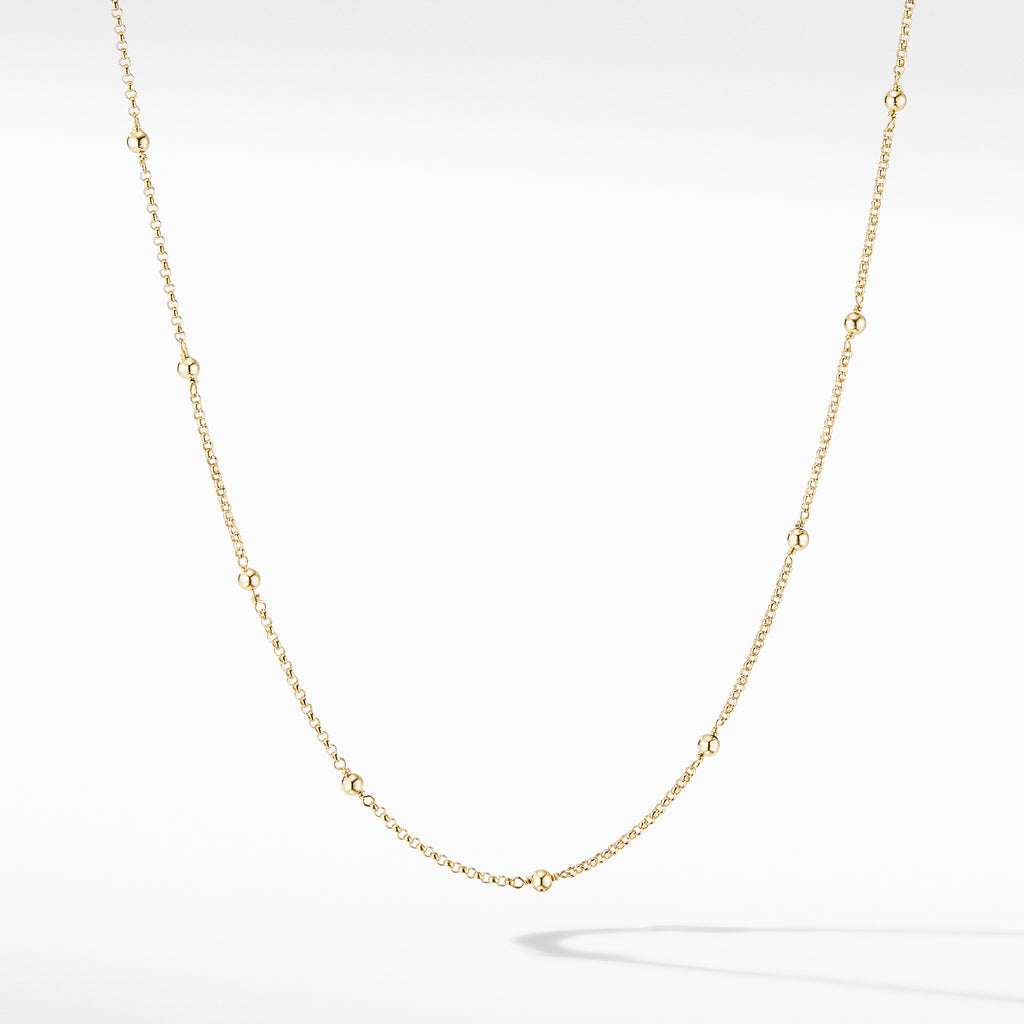 Cable Collectibles® Bead and Chain Necklace in 18K Yellow Gold with Gold Domes