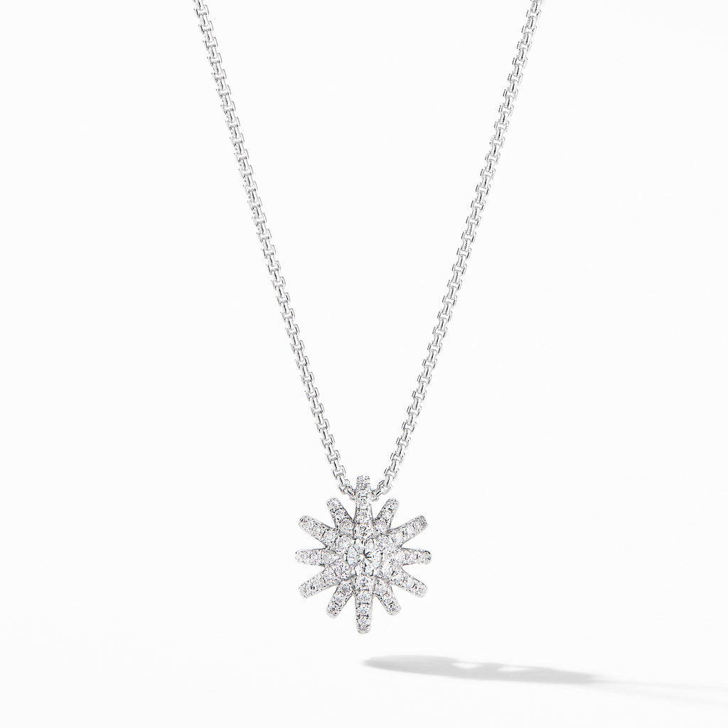 Starburst Pendant Necklace in 18K White Gold with Pavé Diamonds
