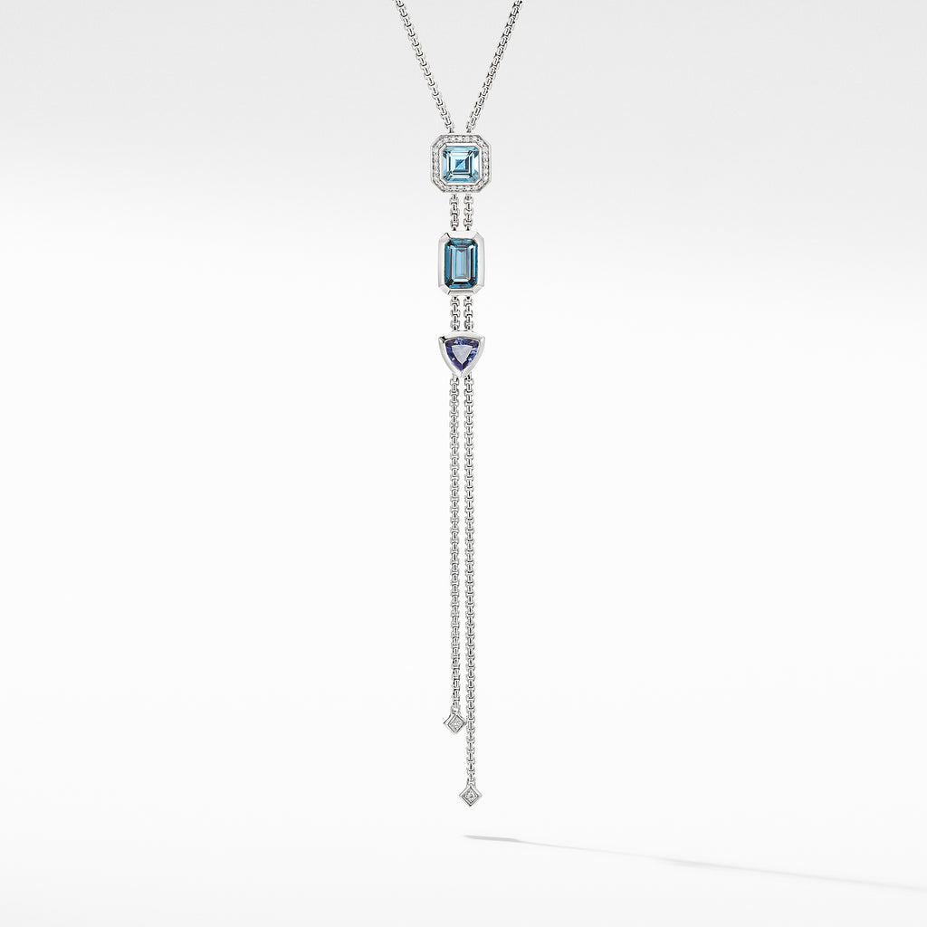 Novella Y Necklace with Blue Topaz and Pavé Diamonds