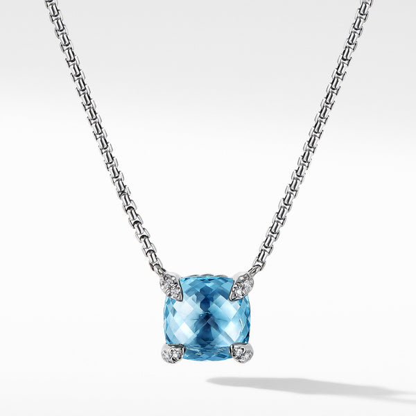 Chatelaine Pendant Necklace with Blue Topaz and Diamonds