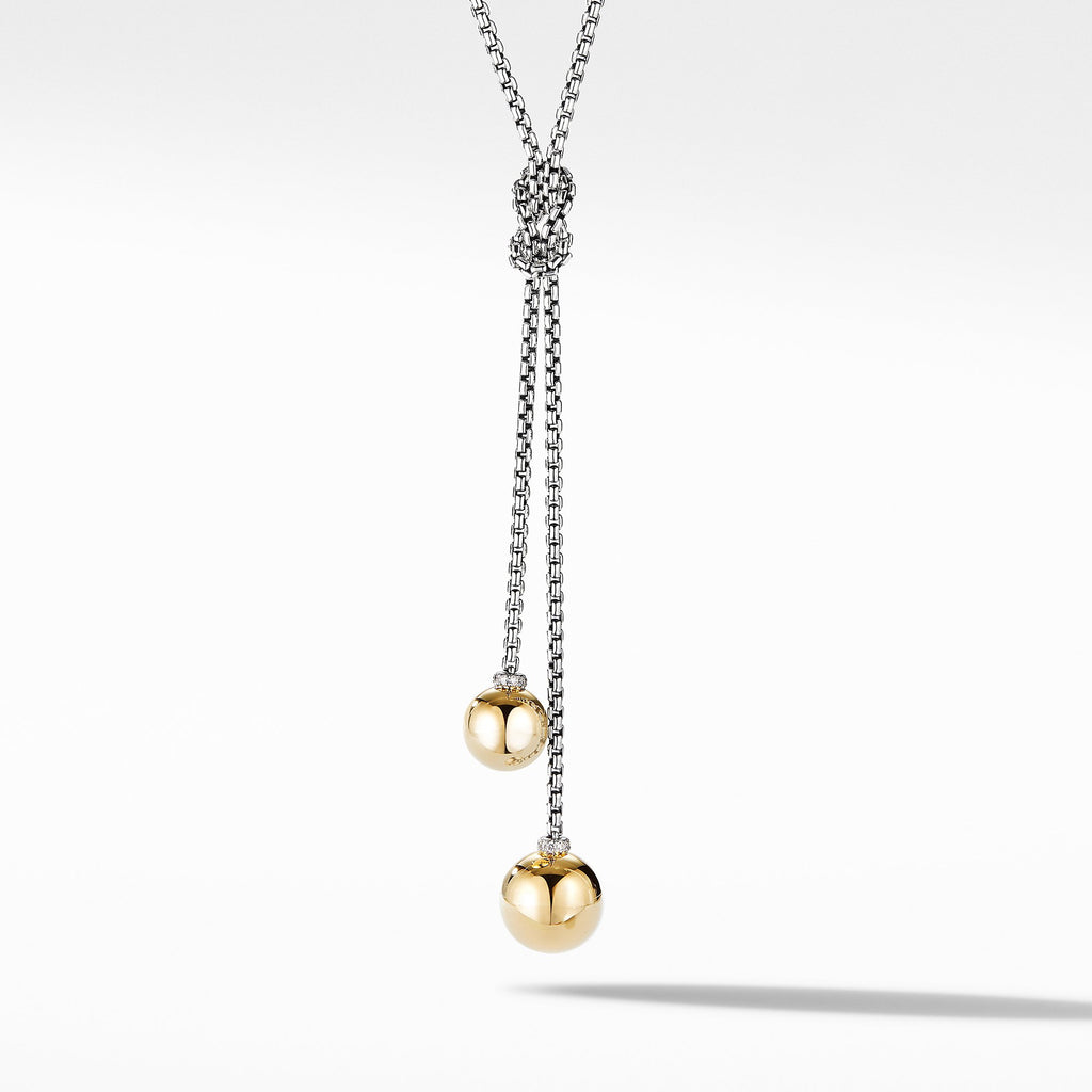 The Solari Collection Knot Necklace with 18K Yellow Gold Domes and Pavé Diamonds