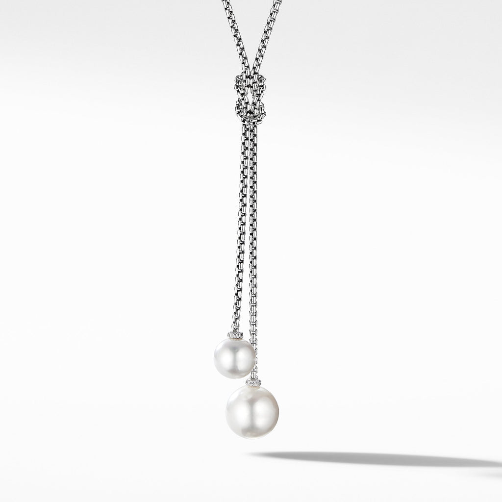 The Solari Collection Knot Necklace with Pearls and Pavé Diamonds