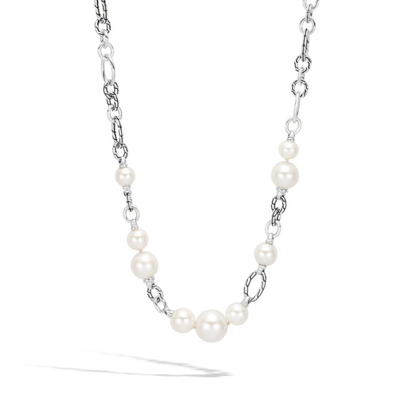 John Hardy Classic Chain Link Necklace with Freshwater Pearl