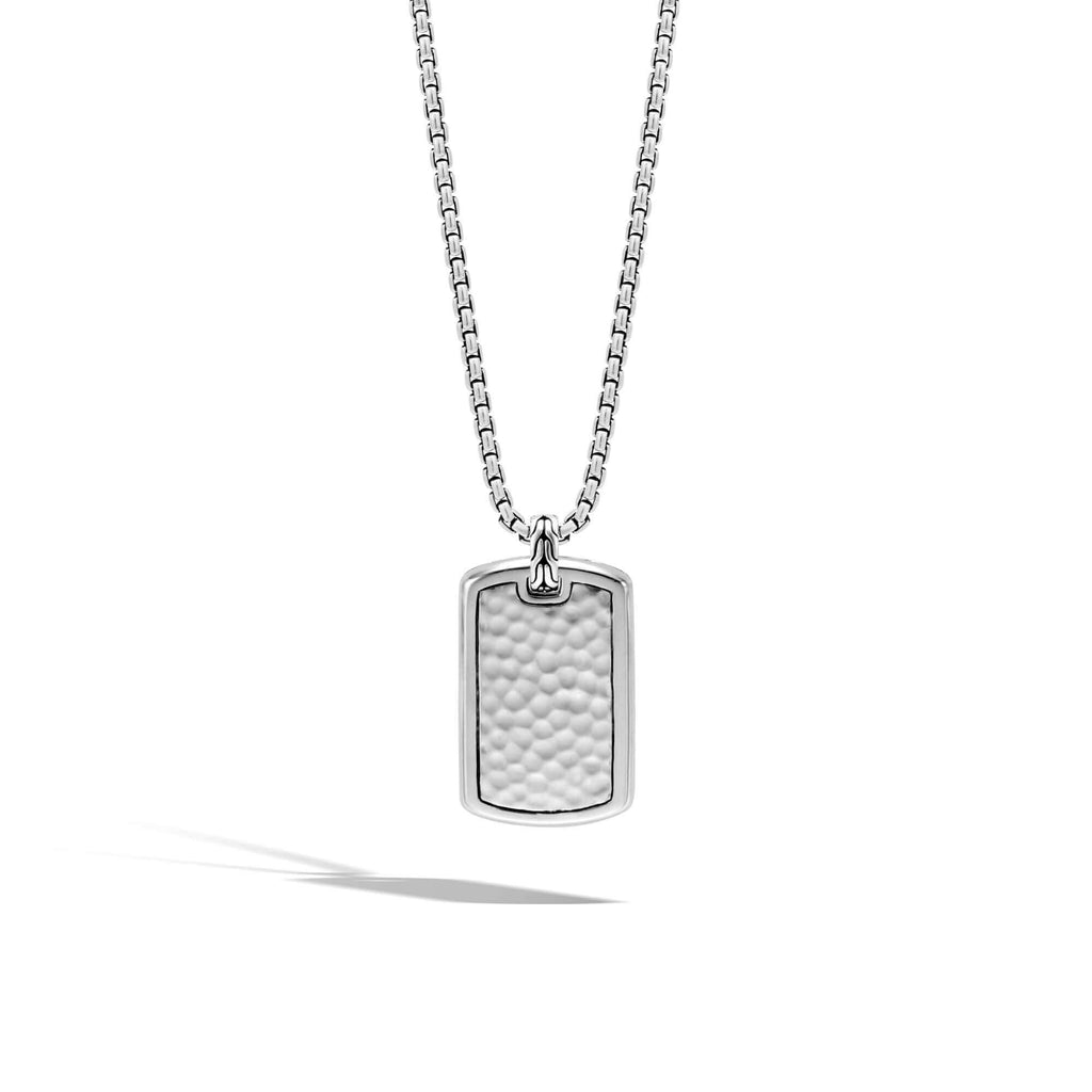John Hardy Classic Chain Large Hammered Dog Tag Necklace
