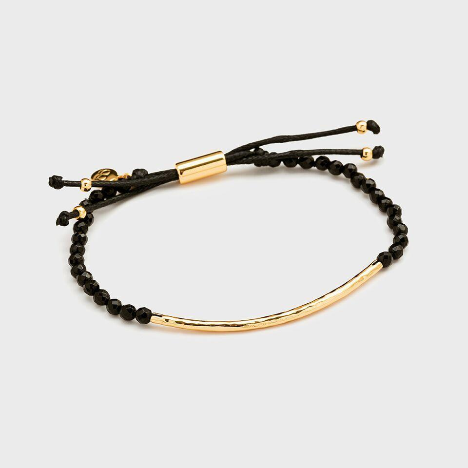 Power Gemstone Bracelet for Protection, Gold/Black Onyx
