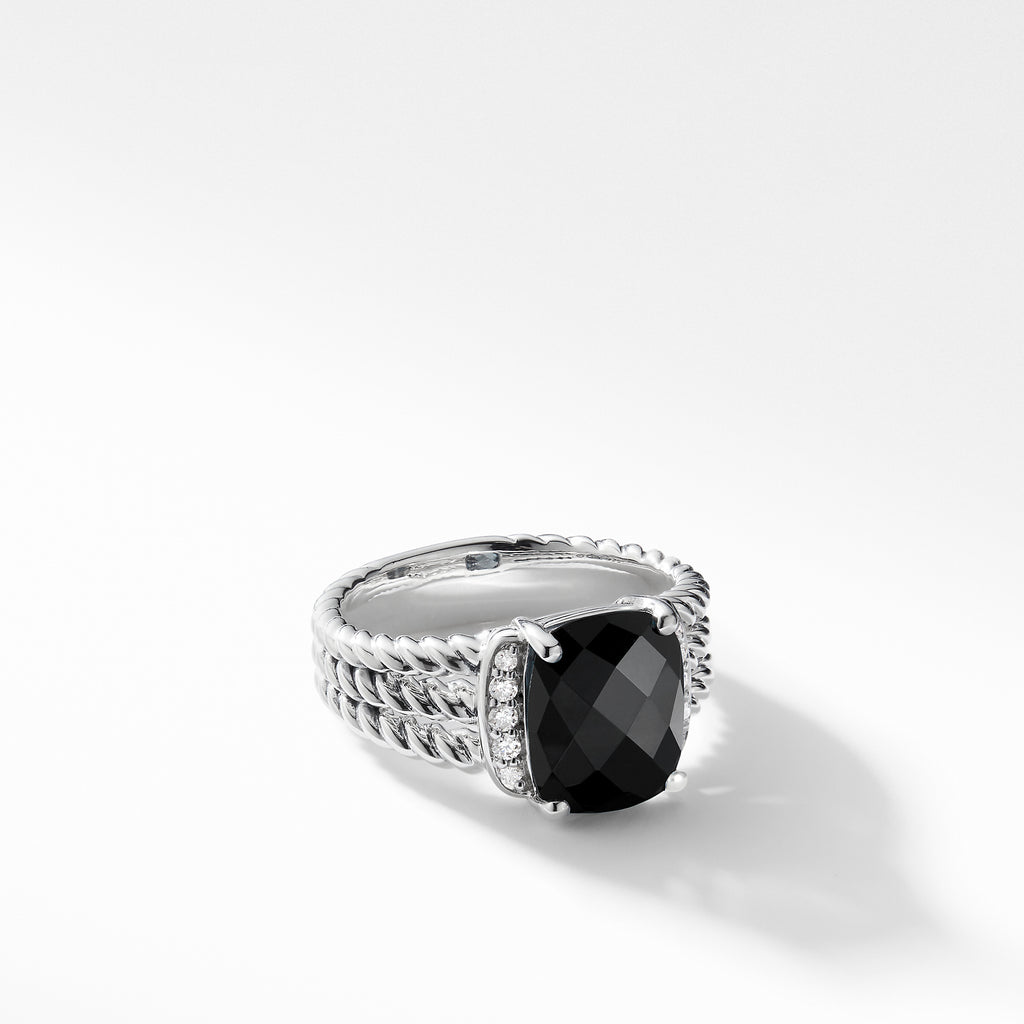 Petite Wheaton® Ring with Black Onyx and Diamonds