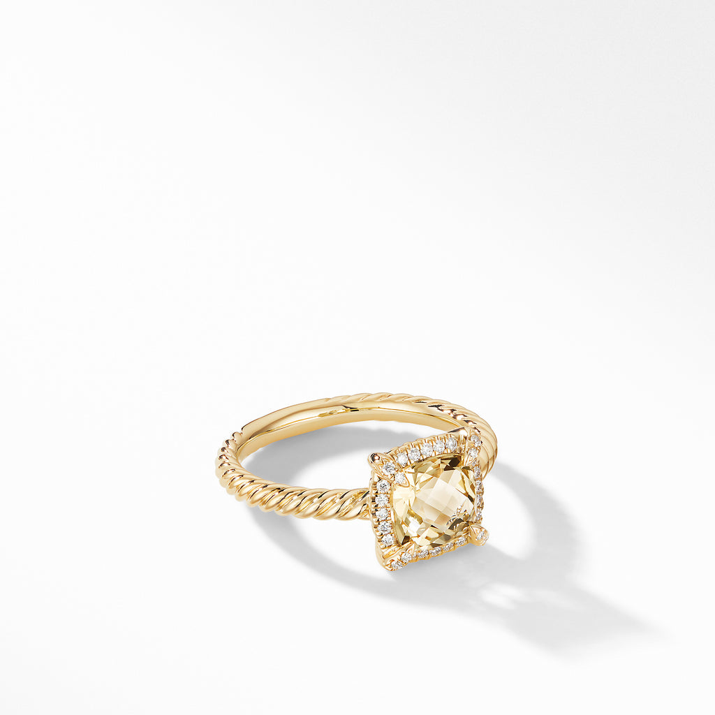 Chatelaine® Pavé Bezel Ring in 18K Yellow Gold with Champagne Citrine