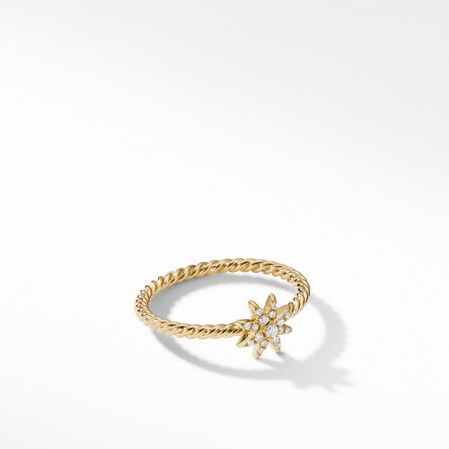 Petite Starburst Station Ring in 18K Yellow Gold with Diamonds