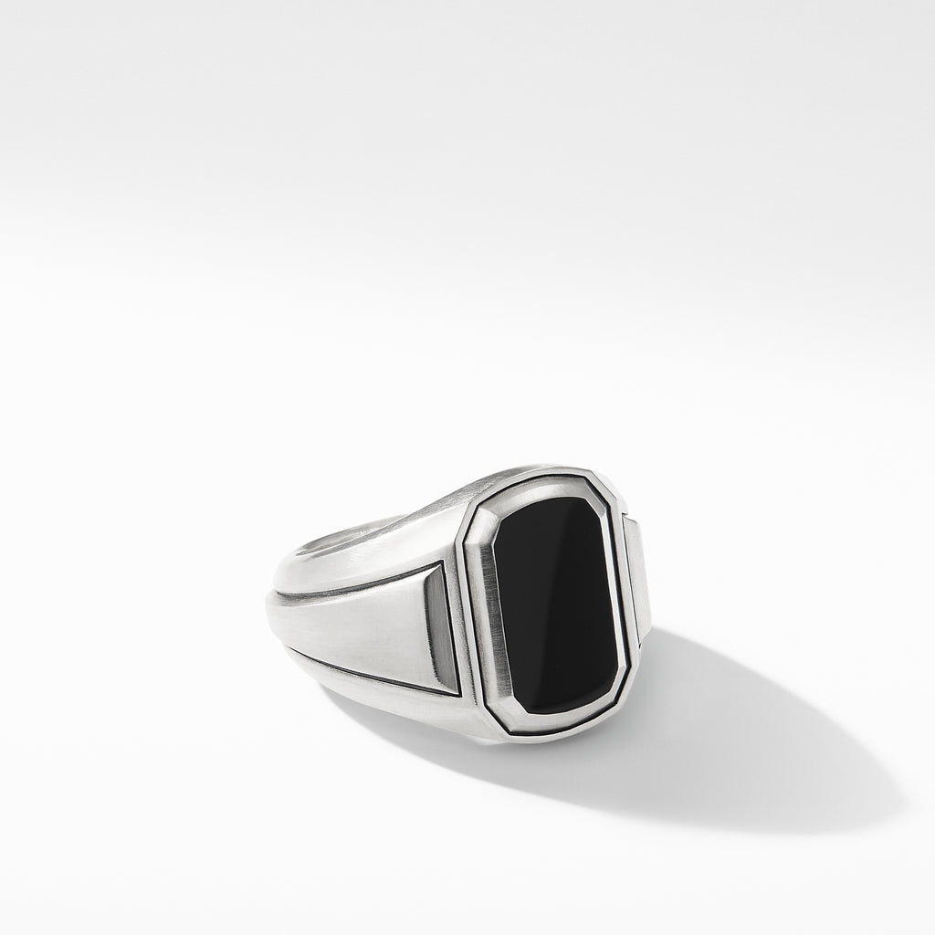 Deco Signet Ring with Black Onyx