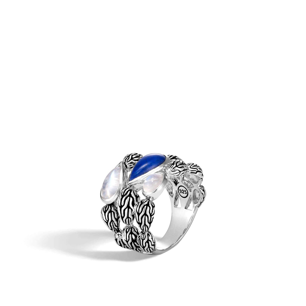 John Hardy Classic Chain Ring with Lapis Lazuli, Rainbow Moonstone