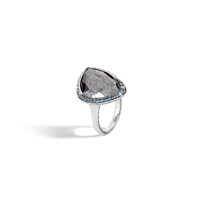 John Hardy Classic Chain Ring with Silver Calcite, Mixed Blue Topaz