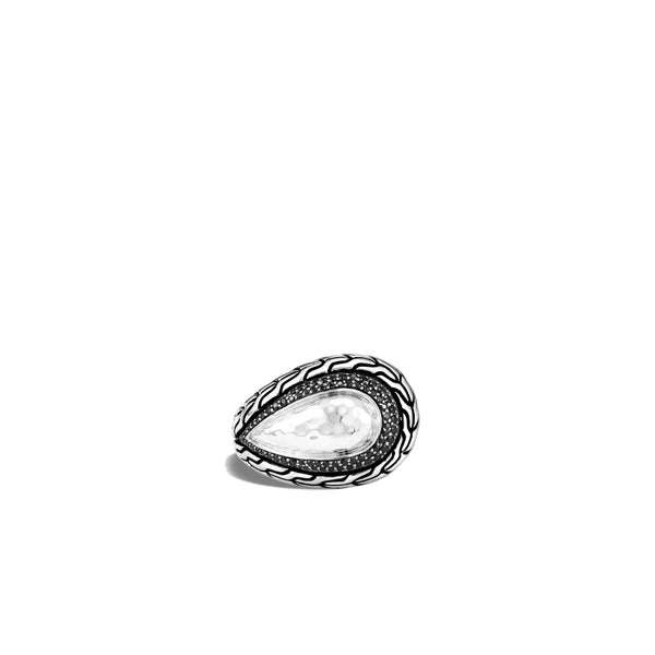 John Hardy Chain Hammered Ring, Black Sapphire, Spinel