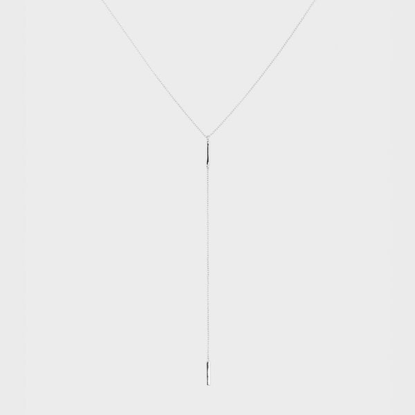Taner Bar Short Lariat, Silver