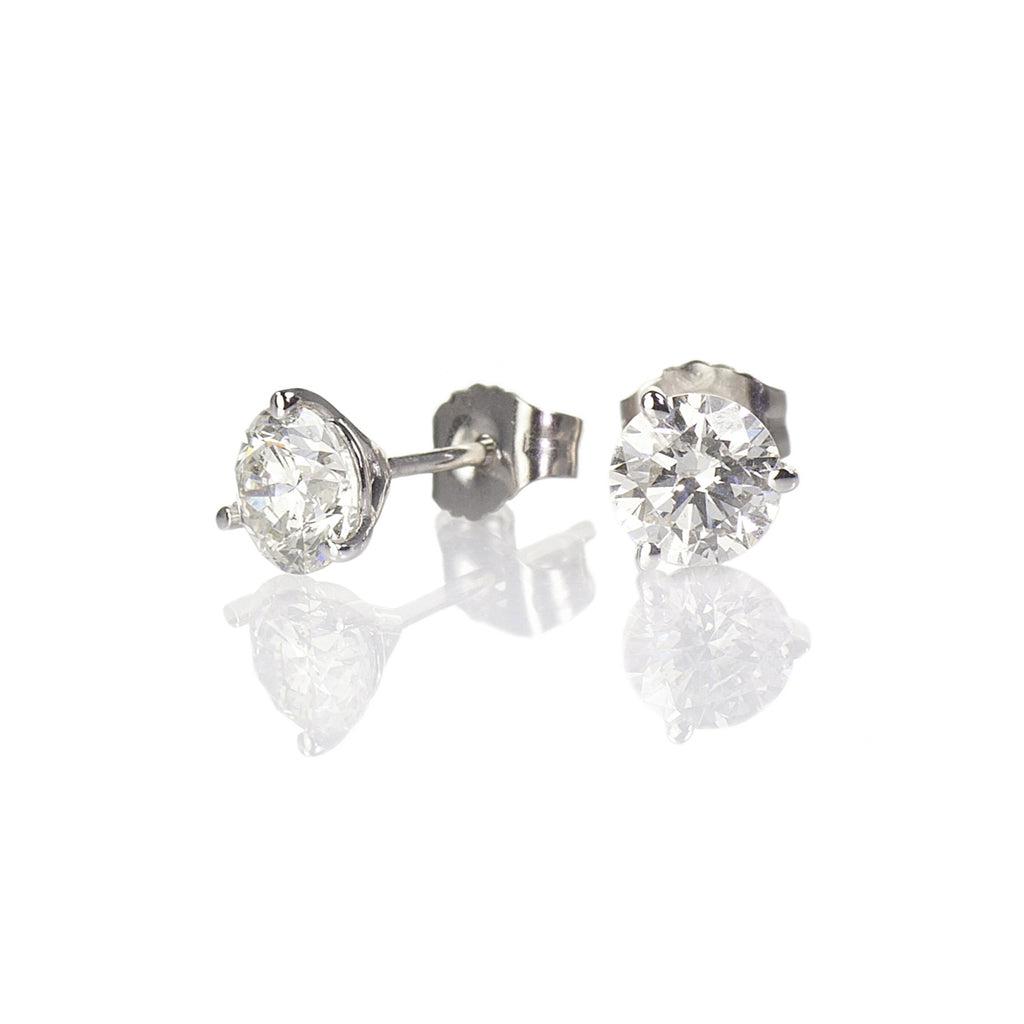 Diamond Stud Earrings, 3/4ctw