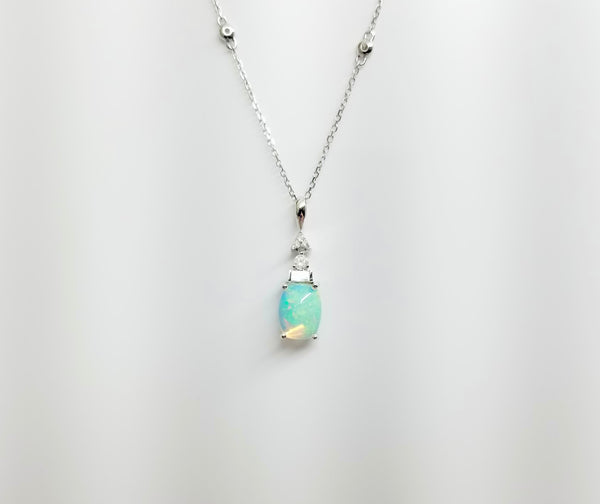 14K White Gold Drop Opal Necklace with Diamonds