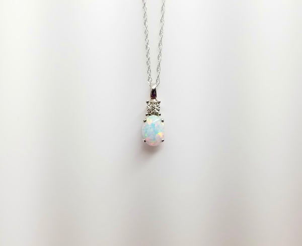 14K White Gold Drop Opal Necklace with Diamond