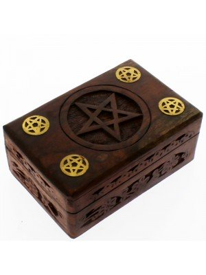 Carved Wooden Pentagram Box