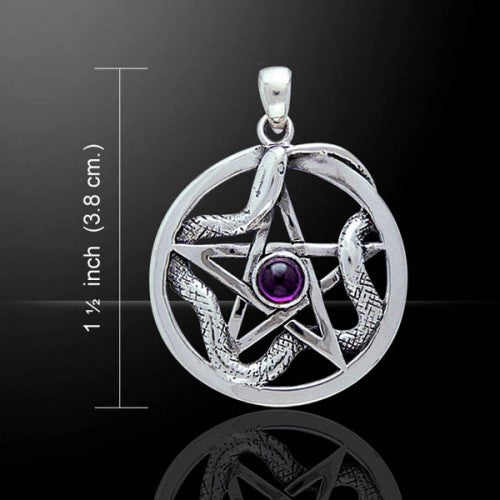 Pentacle with Weaving Snake Pendant (Sterling Silver)