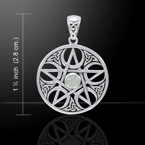 Pentagram with Crescent Moon Pendant (Sterling Silver)
