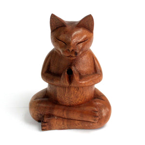 Wooden Carved Cat Incense Cone Burner
