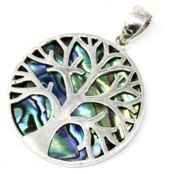 Abalone - Tree of Life Silver Pendant