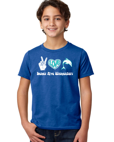 Peace, Love, Dolphins Royal Tee