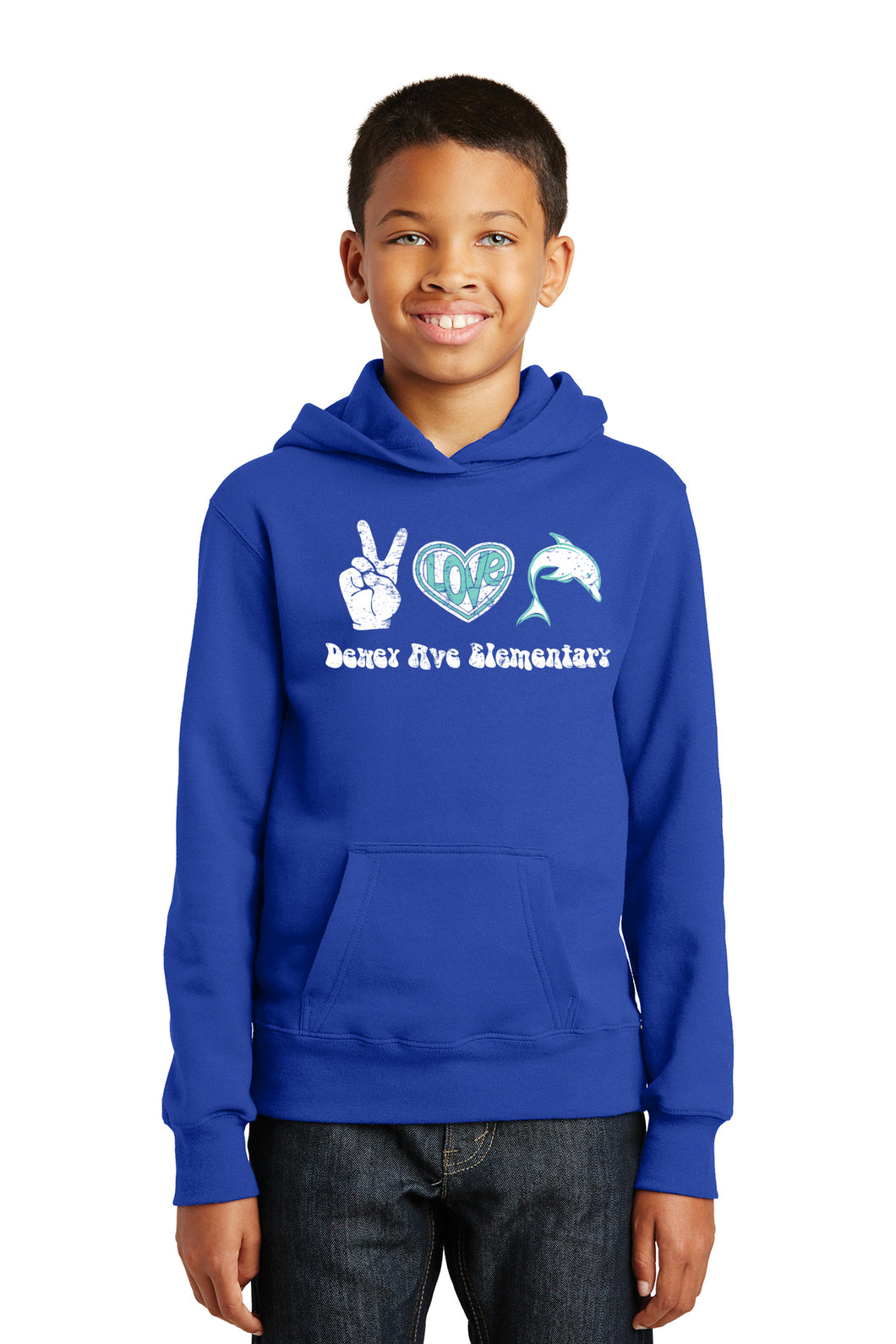 Peace, Love Dolphins Hoody - Royal