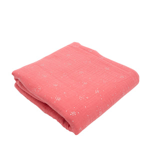 COUVERTURE NID D'ABEILLE ROSE PALE A BRODER