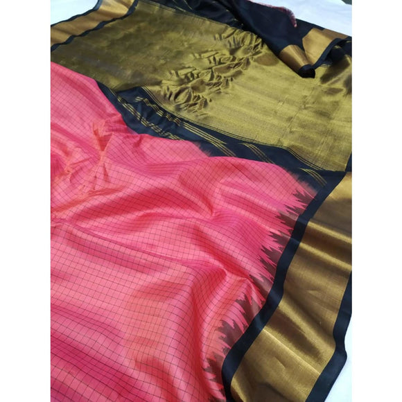 Handwoven pure Gadwal silk saree in pink color with checks and wide zari border - Gadwal Silk Sarees