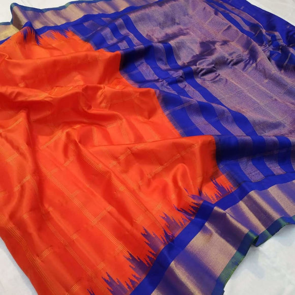Handwoven pure Gadwal silk saree in red color with zari checks and wide zari border - Gadwal Silk Sarees