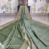 Handwoven pure Tussar Munga silk saree in moss green color - Tussar Munga Silk saree