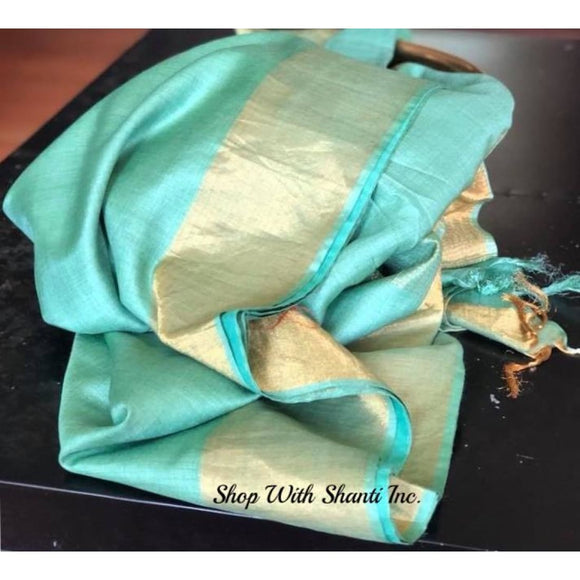 Handwoven pure Tussar Munga silk saree in sea green color - Tussar Munga Silk saree